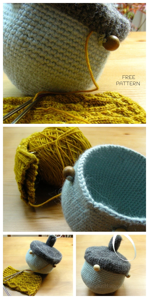 Crochet Little Acorn Project Bag Free Crochet Pattern