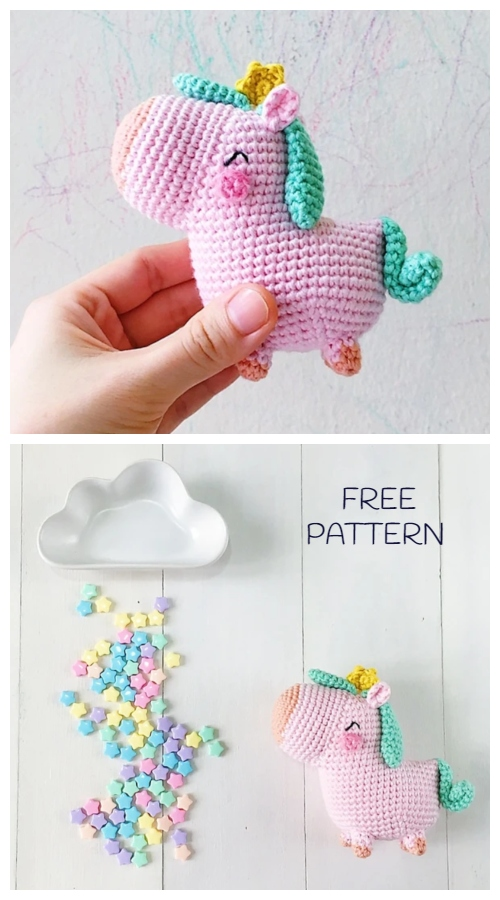 Crochet Pocket Unicorn Amigurumi Free Patterns