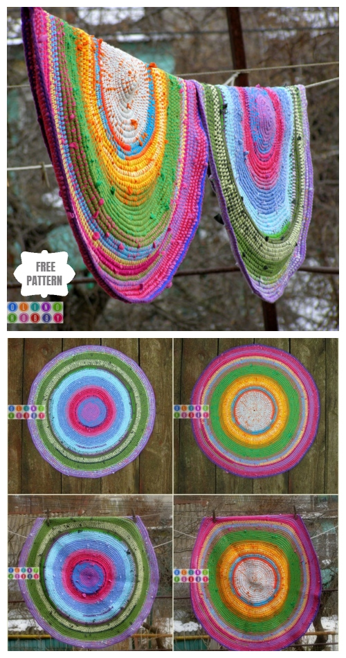 Crochet Recycled Old T-shirts Rug Free Patterns + Video