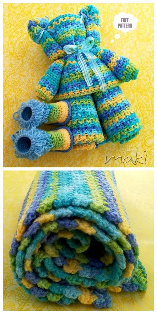 Crochet Ripple Baby Blanket Bear Free Cochet Pattern