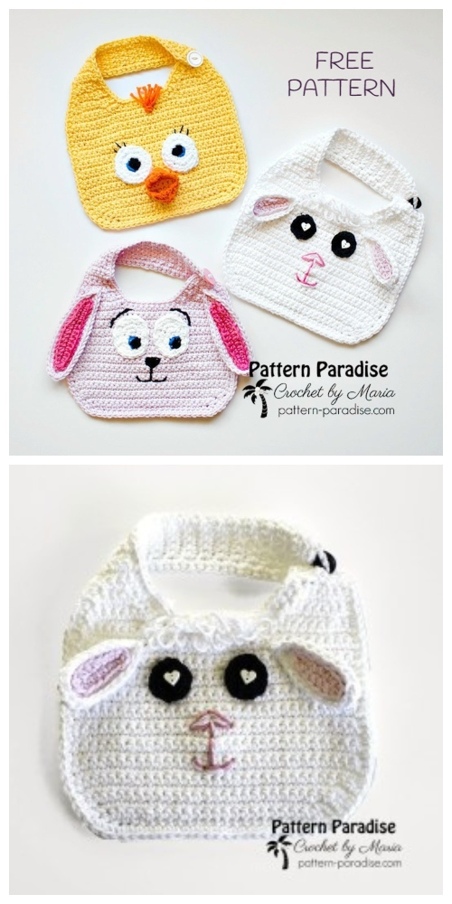 Crochet Spring Baby Animal Bib Free Crochet Patterns