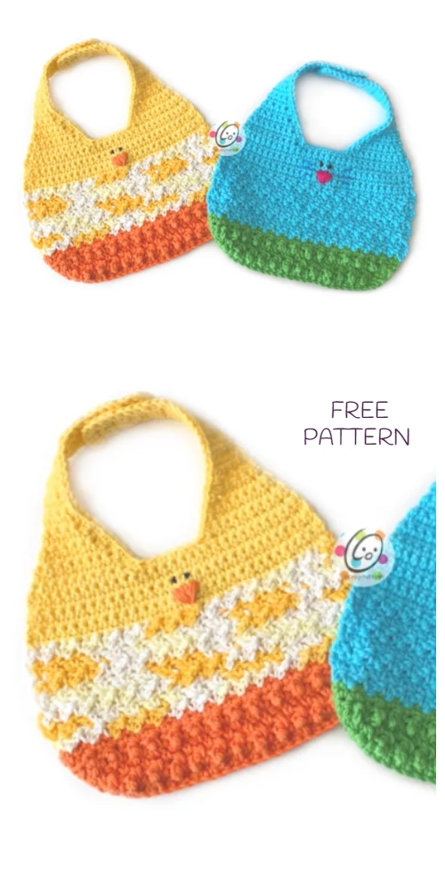 Crochet Spring Baby Animal Friends Bib Free Crochet Patterns