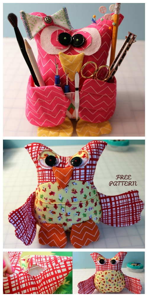 DIY Fabric Owl Buddy Organizer Free Sewing Pattern with detailed tutorial