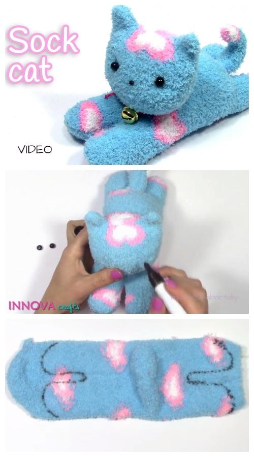 DIY Sock Kitten Free Sewing Pattern + Video Tutorial