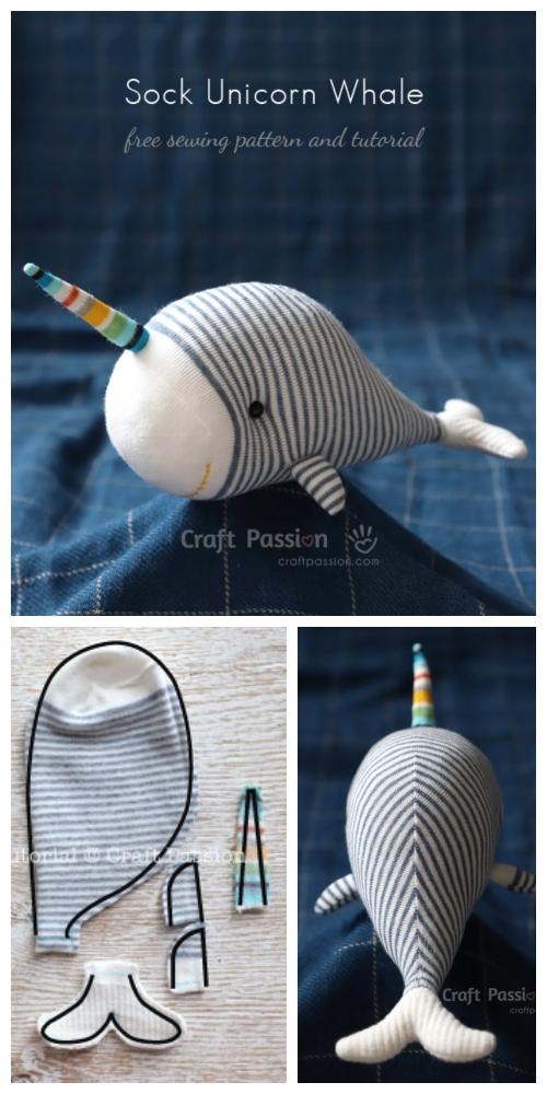 DIY Sock Unicorn Whale Free Sewing Pattern