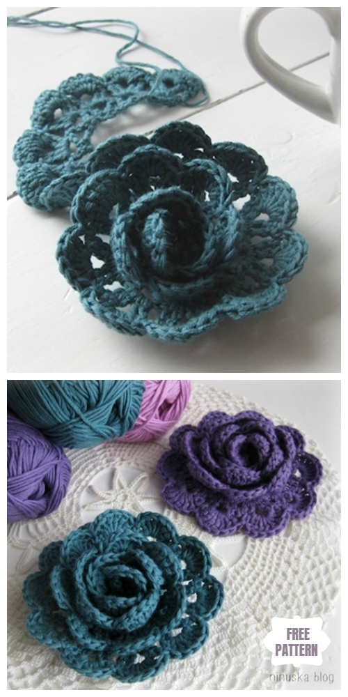Easy Crochet Lace Rose Flower Free Crochet Patterns