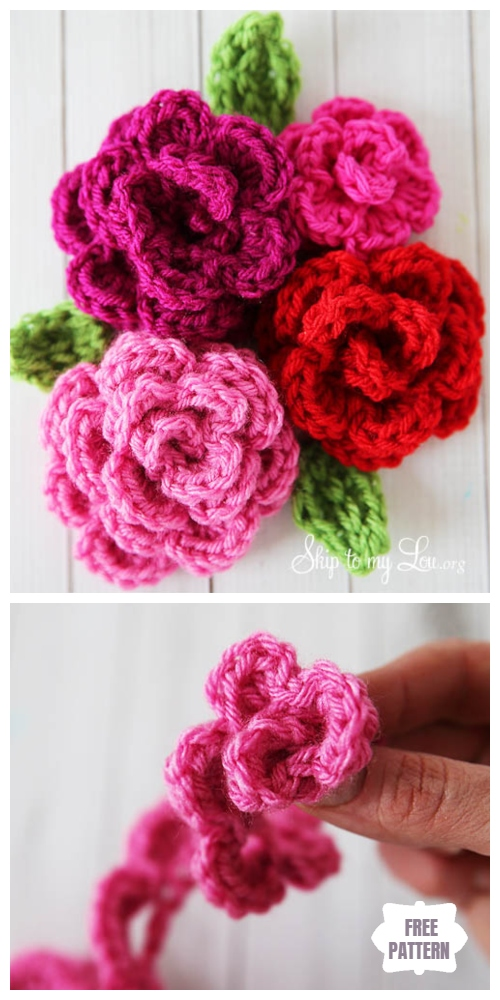 Easy Crochet Rose Flower Free Crochet Patterns