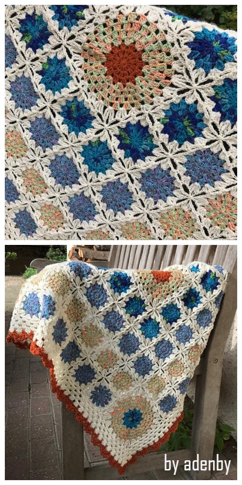 Flowers in the Snow Blanket Free Crochet Pattern