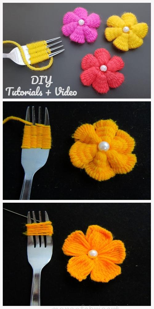 Fun Hand Embroidery Yarn Flower DIY Tutorial with Fork - Video
