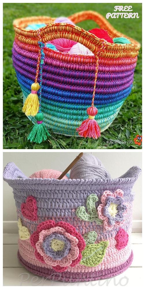 Ropey Rainbow Basket Free Crochet Patterns