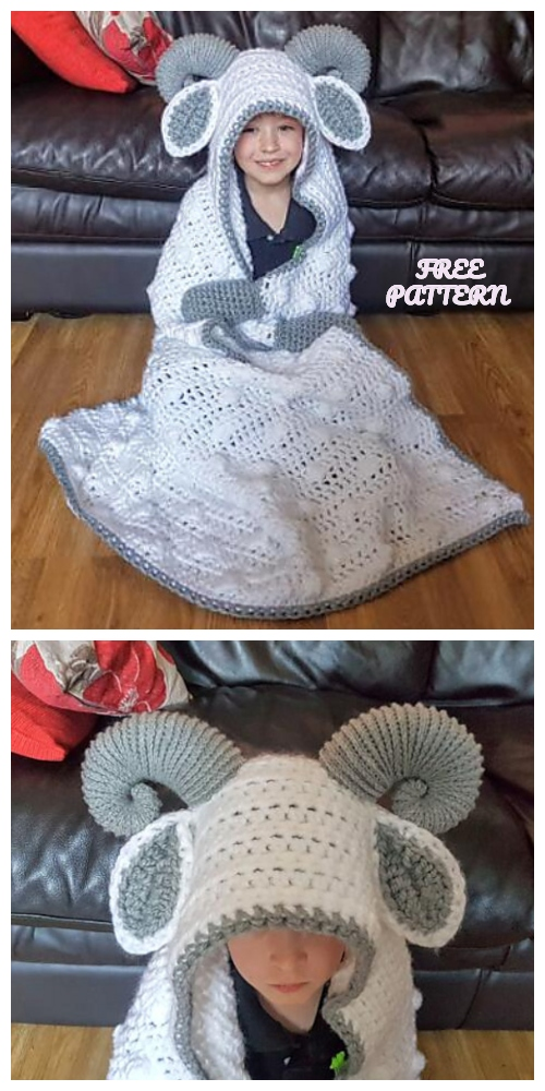 Crochet Hooded Ram Sheep Blanket Free Crochet Pattern