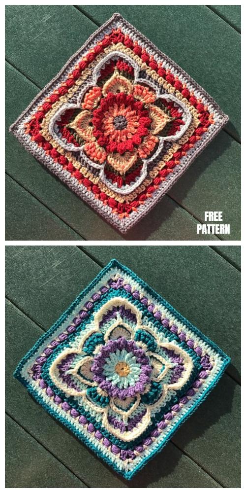 Kinnedy Nichelle Afghan Block Square Free Crochet Pattern