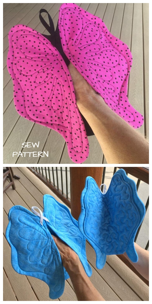 DIY Quilted Butterfly Potholder Sew Pattern