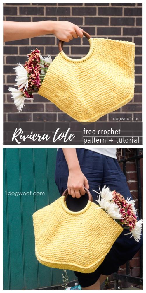Crochet Riviera Tote Bag Free Crochet Pattern +Video