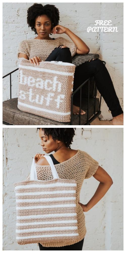 Crochet Beach Stuff Tote Bag Free Crochet Pattern