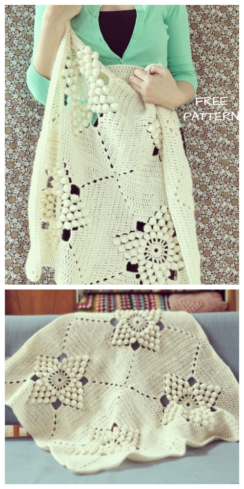 Smitten Blanket Vintage Popcorn Granny Square Free Crochet Pattern + Video