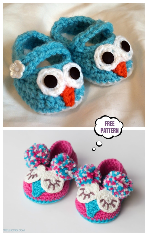 Crochet Mary Jane Baby Owl Booties Free Crochet Patterns + Video
