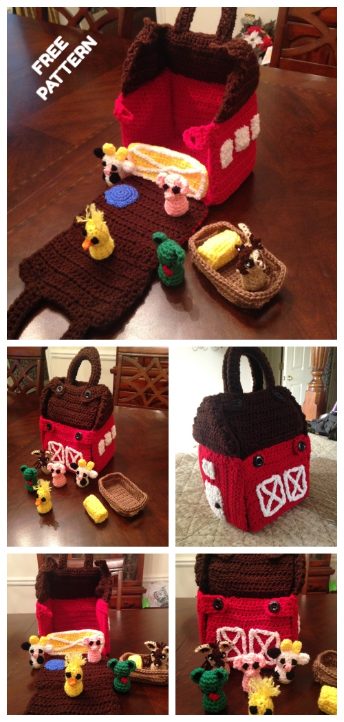 Carry Along Barn and Animals Play Set Free Crochet Patterns