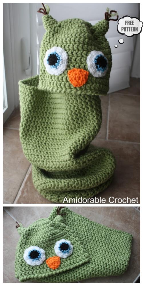 Crochet Baby Owl Cocoon & Hat Free Crochet Pattern