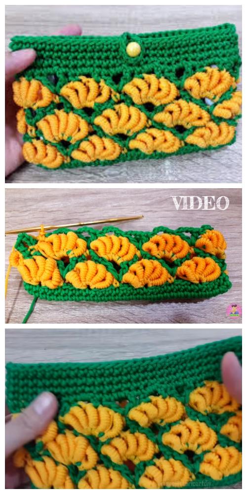 Crochet Banana Stitch Clutch Free Crochet Pattern Video