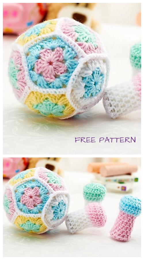 Crochet Flower Bowling Pin Set Amigurumi Free Patterns