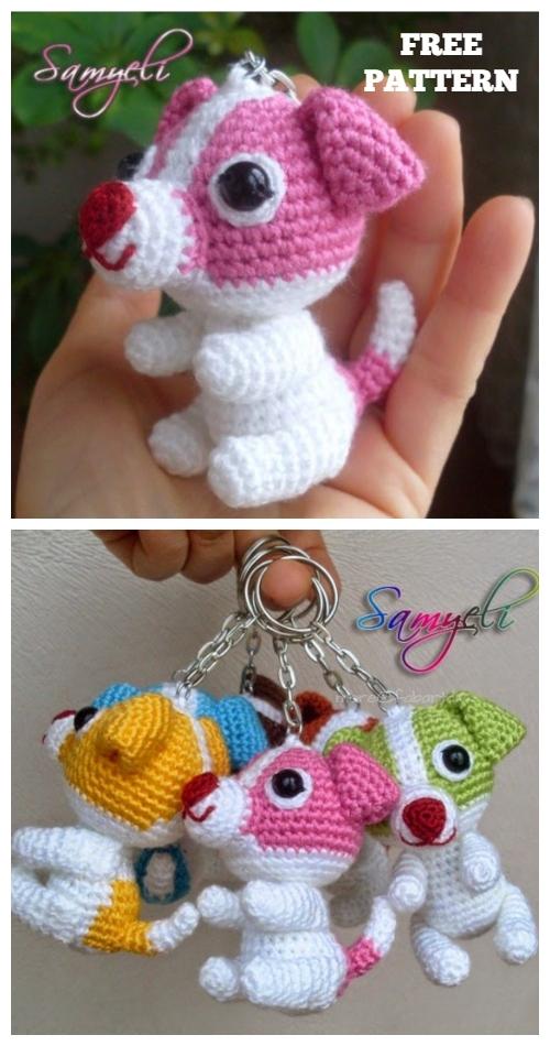 Cute Puppy Crochet Dog Keychain Amigurumi Free Patterns
