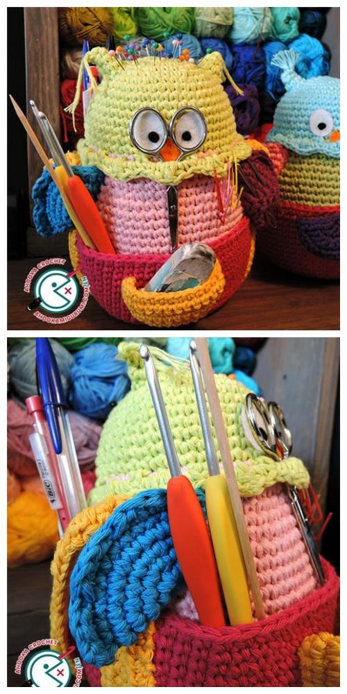 Crochet Owl Hook Holder Amigurumi Pattern