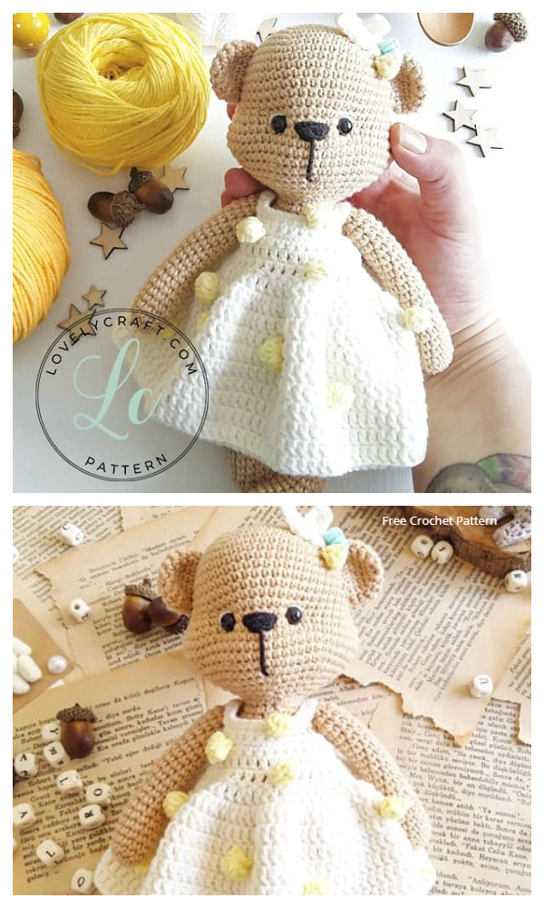 Crochet Mrs. Cookie Teddy Bear Amigurumi Free Patterns