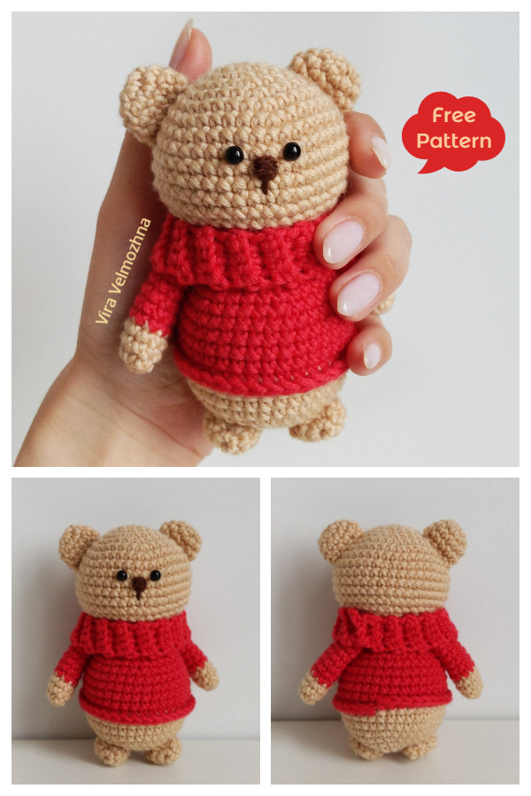 Crochet Teddy Bear in Sweater Amigurumi Free Patterns