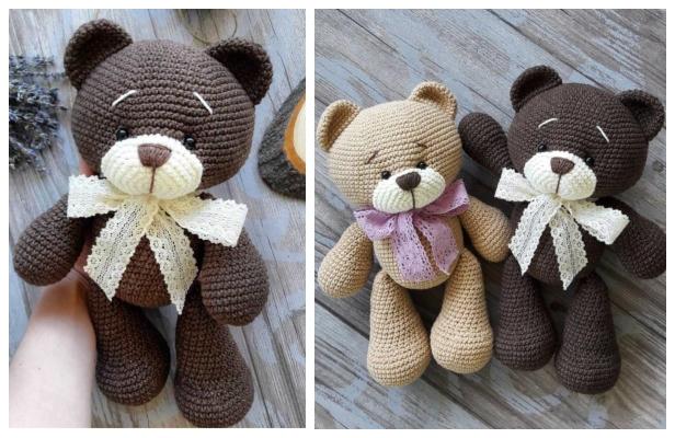 Crochet teddy bear Bearnando - Ecological Toy - DucknRabbit | 400x616
