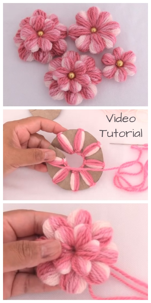 DIY Embroidery Yarn Flowers with Cardboard Tutorial + Video