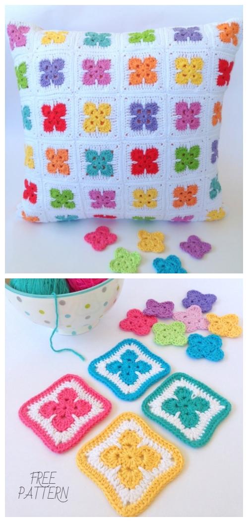 Easy Fleur Square Motif Free Crochet Pattern