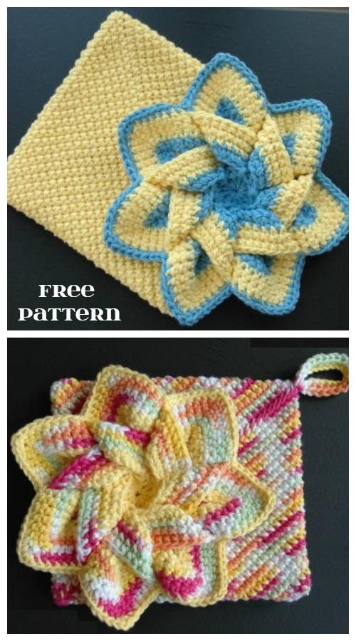 Flower Hot Pads Free Crochet Pattern