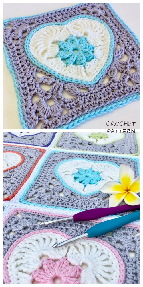 Crochet Heart in Bloom Motif Square Crochet Pattern