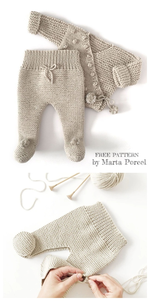 Knit Baby Kimono Jacket Legging Set Free Knitting Patterns