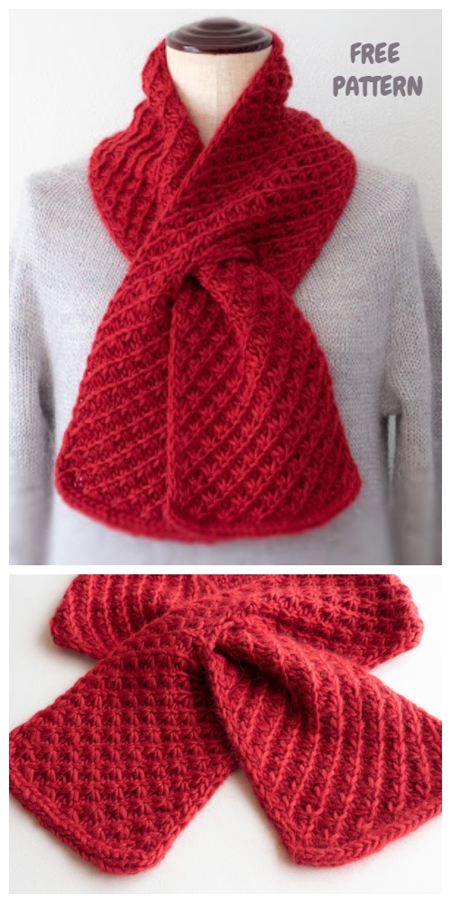 Knit Star Stitch Cherry Pie Scarf Free Knitting Pattern