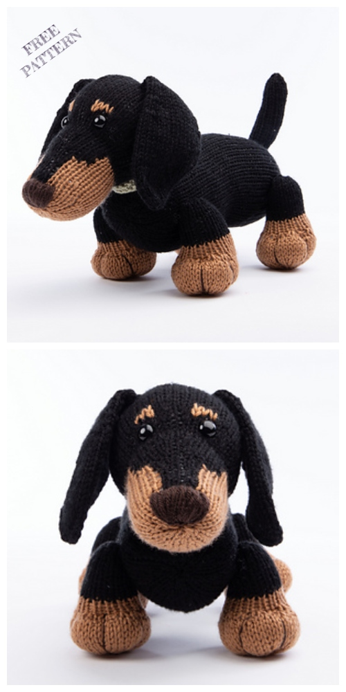 Knit Dachshund Dog Free Knitting Pattern