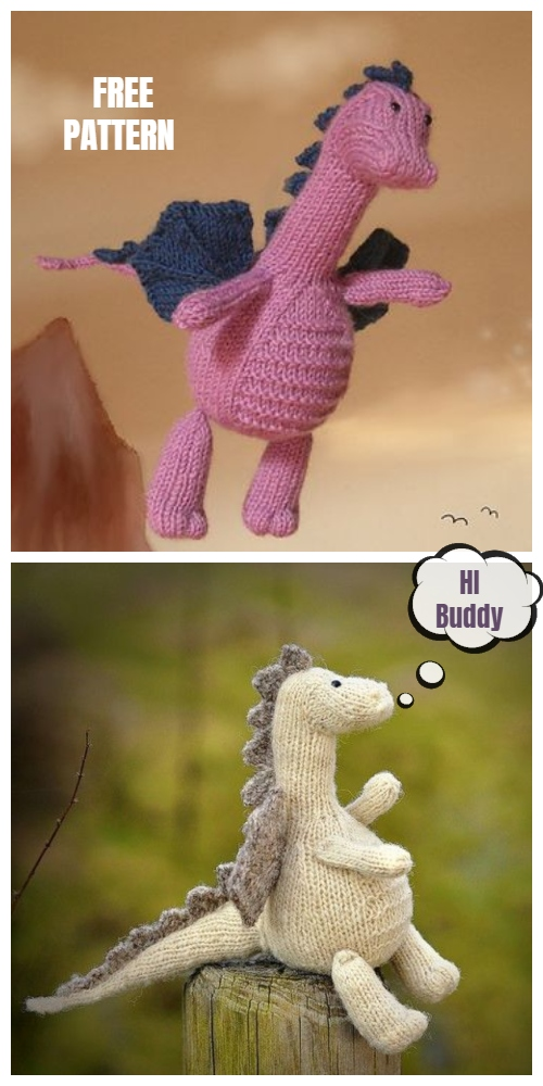 Knit Tarragon the Gentle Dragon Toy Free Knitting Patterns