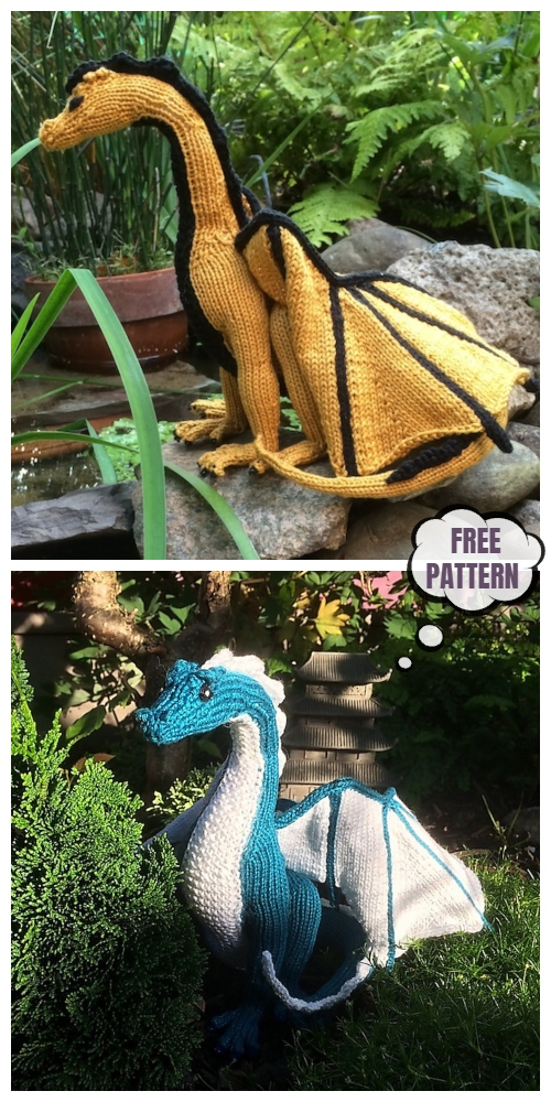 Knit Dragon Toy Free Knitting Patterns