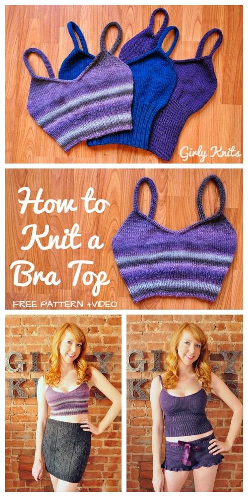 Knit Girly Bra Top Free Knitting Pattern+Video