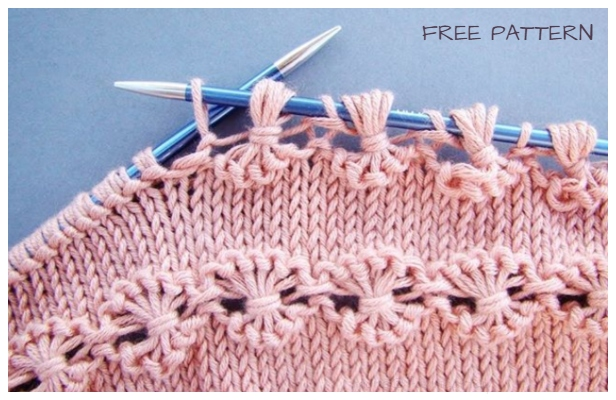 Knit Point of Flower Stitch Free Knitting Pattern+Video