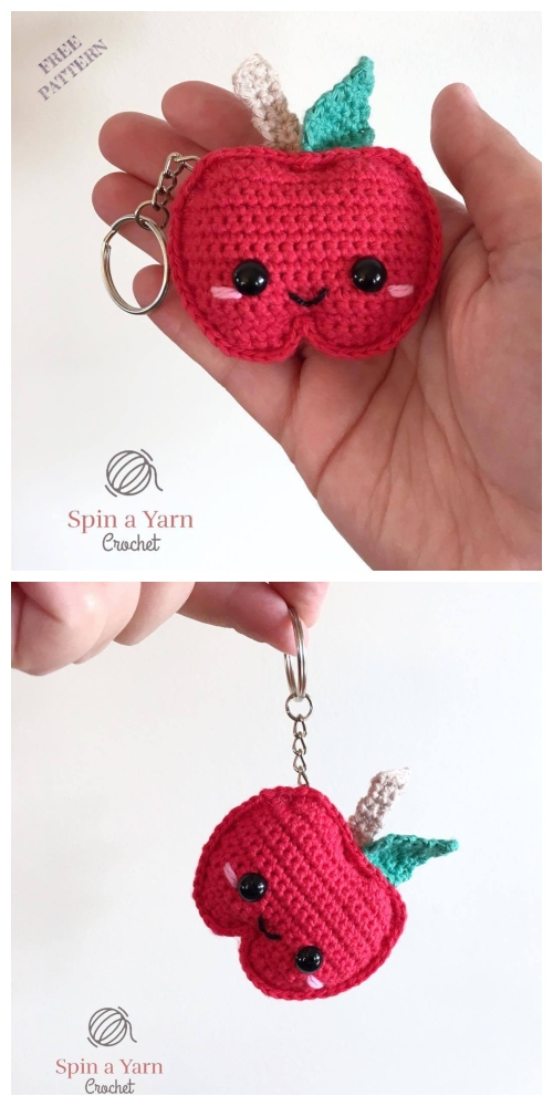 Crochet Kawaii Apple Keychain Amigurumi Free Patterns