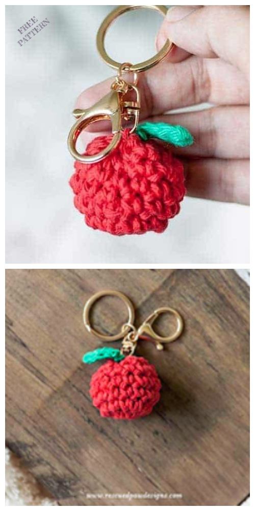 Crochet Mini Apple Keychain Amigurumi Free Patterns