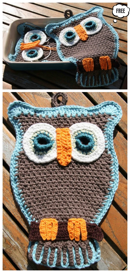 Crochet Owl Pocket Potholder Free Crochet Pattern