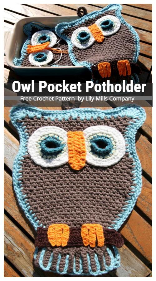 Crochet Owl Pocket Potholder Free Crochet Pattern