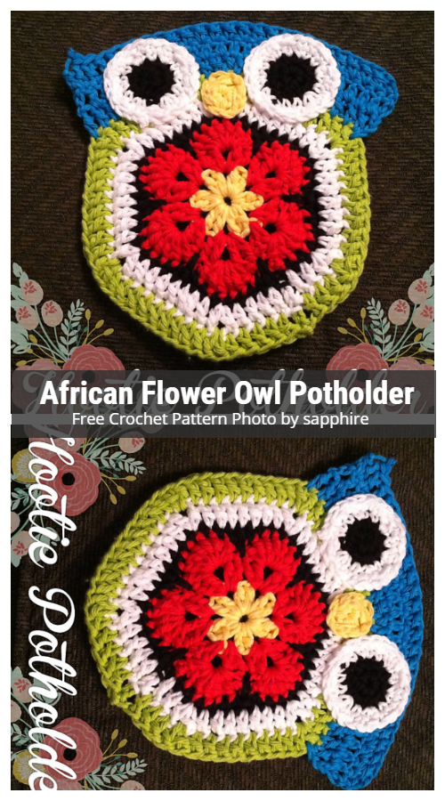 African Flower Owl Hot Pad Potholder Free Crochet Pattern