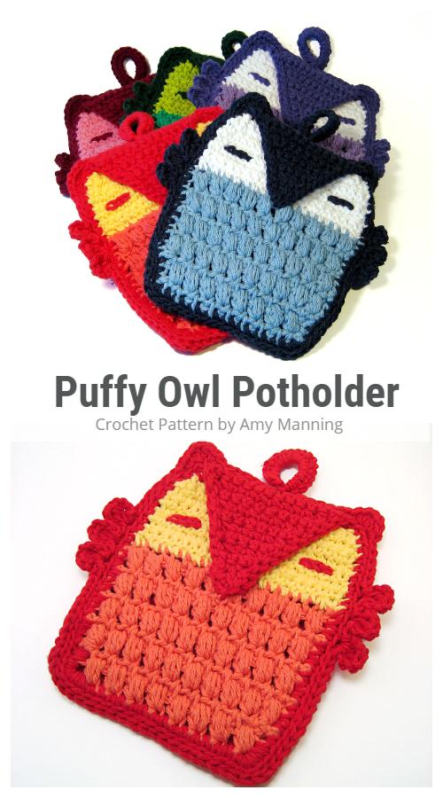 Puff Stitch Owl Potholder Crochet Patterns