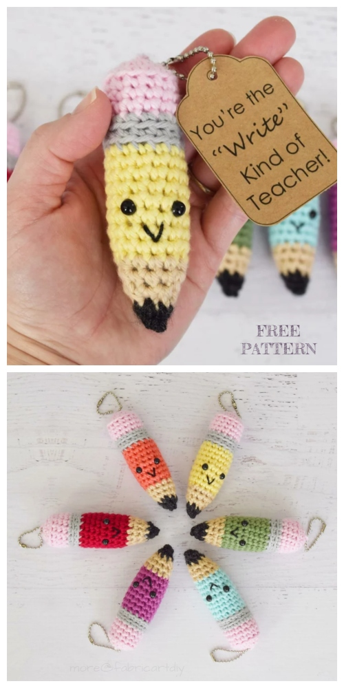 Crochet Pencil Keychain Amigurumi Free Pattern