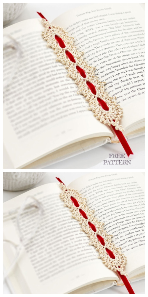 Ribbon Golden Bookmark Free Crochet Patterns