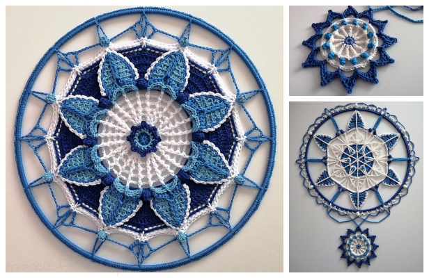 Spring Blue Mandala Free Crochet Patterns